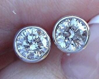 1 Carat Bezel Diamond White Gold Stud Earrings 14K Round Solitaire Screwbacks