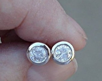 0.50 Carat Diamond Earrings Bezel Solitaire Half Carat