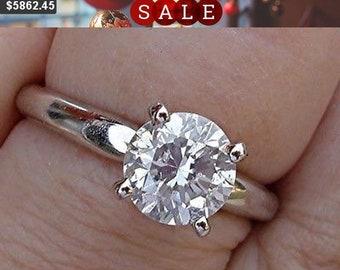 1.4 Carat Diamond Platinum Engagement Ring, Round Diamond 4 Prong Setting