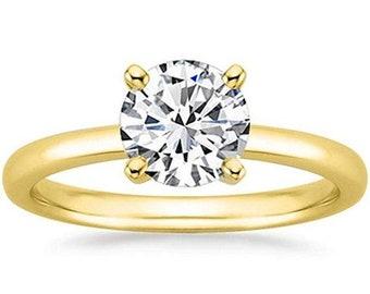 1/2 Carat Gia Certified Diamond Engagement Ring 0.44 Ct VS2 I 4 Prong 14K Yellow Gold