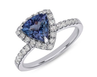Vivid Blue 6mm Tanzanite Ring in Trillion Cut with Diamond Halo - 14K White Gold by Luxinelle