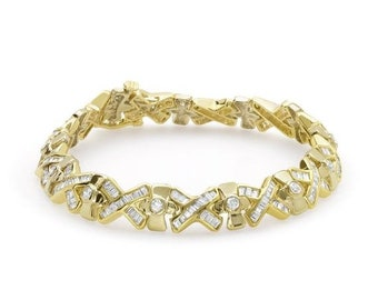 4.91 Carat Yellow Gold Diamond Bracelet - 14K Formal Occasion Statememt Tennis Bracelet by Luxinelle