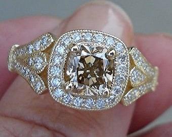 1 Carat Certfied Brown Diamond Cushion Cut SI1 in 14K Yellow Gold Ring