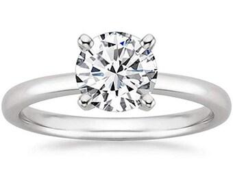 1/2 Carat Gia Certified Diamond Engagement Ring 0.44 Ct VS2 I 4 Prong 14K White Gold