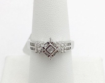 White Gold Unique Diamond Ring - Square - Size 7.25, resizable 14K, Antique Vintage Anniversary Engagement Wedding Birthday Promise