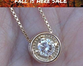 Yellow Gold Diamond Solitaire Pendant Necklace 14K