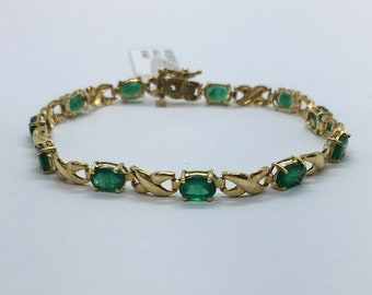 Yellow Gold Emerald Stone Bracelet - Oval Cut 14K Natural Green Gemstone Link Bracelet 7 Carat by Luxinelle Jewelry