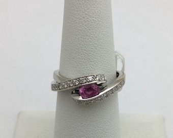 East West Pink Sapphire Oval Cut with Diamond White Gold Ring - 14K Bypass