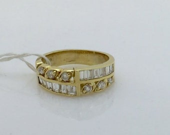 Very Unique Wide of Baguette and Round Diamond Band 14K Yellow Gold