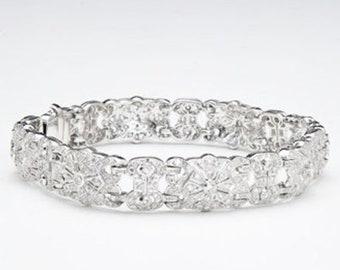 18K Pave Diamond Bracelet - 1.97 Carat Floral Statement White Gold for Formal Occasion