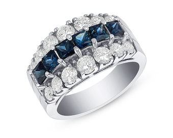 2.88 Carat Big Blue Sapphire and Diamond Ring in 14K White Gold by Luxinelle