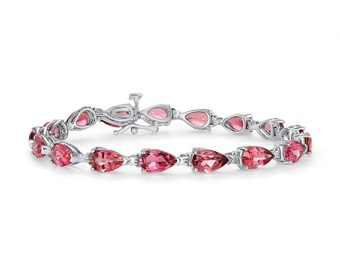 13.1 Carat Vivid Pink Tourmaline Bracelet - Pear Shaped 7 Inches 14K White Gold by Luxinelle