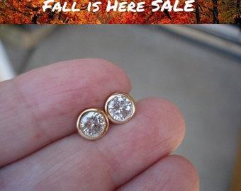 14K Gold Round Diamond Bezel Earrings - 0.40 TCW (White, Yellow or Rose Gold)