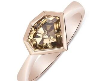 1.54 Carat Dark Chocolate Brown Diamond Solitaire Bezel Ring Handmade - 14K Rose Gold
