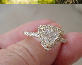 1 Carat Trillion Cut Halo Engagement Diamond Ring - SI2 D EGL Certified Diamond
