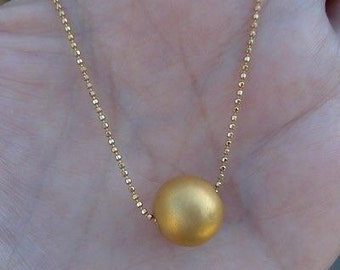 24K Solid Gold Ball on 18K Yellow Gold Chain Pendant Necklace by Luxinelle