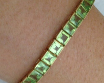 Peridot Bracelet with 13 Carat Princess Cut Green Peridots in 14K Yellow Gold - August Birthstone Green Gemstone