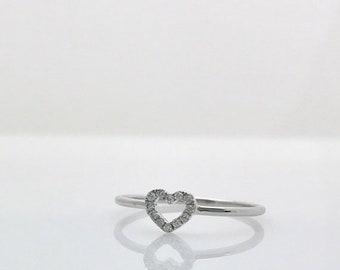 Diamond Open Heart Shaped Promise Ring 18K White Gold
