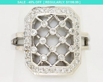 Large Lattice Style Diamond Ring - 14k White Gold 0.28 Carats by Luxinelle