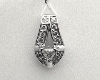 0.58 cttw Trillion Cut Diamond Drop Pendant - Pave Diamonds Charm - White Gold 14K
