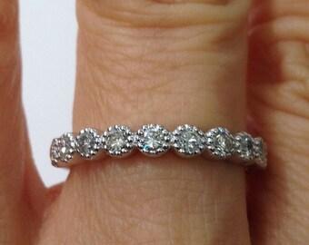 11 Diamond White Gold Wedding Band 3mm - 14K New Milgrain Bezel Setting 0.58 TCW Stacking Rings