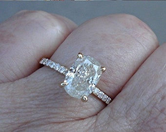 Big 1.01 Oval Diamond Solitaire Ring - 14K Yellow, White or Rose Gold Wedding Engagement Certified Diamond EGL USA