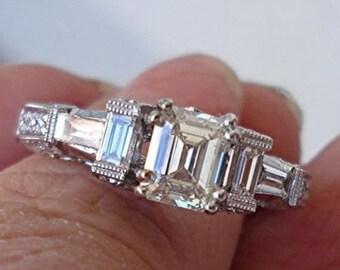 GIA Emerald Cut Diamond Engagement Ring - 18K White Gold 1.71 cttw