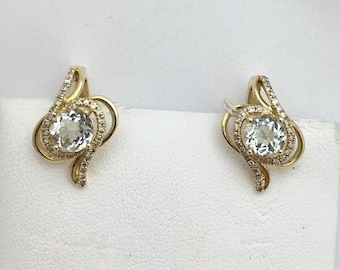 Rare Green Amethyst Yellow Gold Earrings - 14k February Birthstone by Luxinelle
