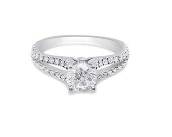 1/2 Carat Diamond Split Shank Diamond Engagement Ring GIA Certified 0.43 Carat H SI1