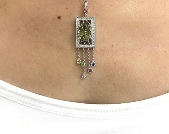 Green Tourmaline and Diamond Necklace Multi Color White gold Pendant on a Chain by Luxinelle