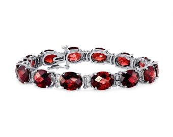 35.6 Carat Red Garnet 14K White Gold - Oval Checkerboard Cut by Luxinelle