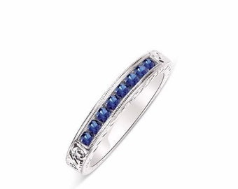 8 Blue Sapphire Band 100% Hand Engraved Solid 14K White Gold Ring with Channel Setting