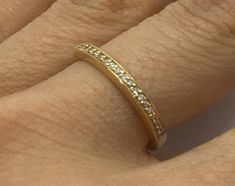 0.40 Carat Diamond Band in 14K Yellow Gold Half Eternity Pave Setting