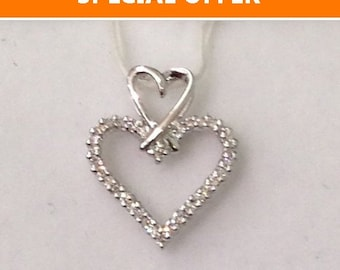 Two Heart Diamond Pendant in 14k White Gold Heart on Heart by Luxinelle
