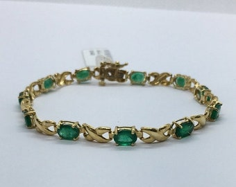 Oval Cut Emerald and 14K Yellow Gold Bracelet - Green May Birthstone by Luxinelle