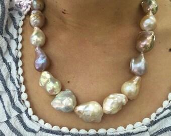 Multi Color Natural Baroque Pearl Necklace - Big