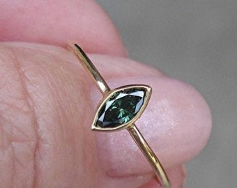 Unique One of a Kind Green Marquise Diamond Bezel Ring - 14K Yellow Gold 0.25 Carat