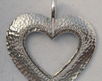 SOLID 14K White Gold Diamond Hearts Double Charm Pendant Hammered