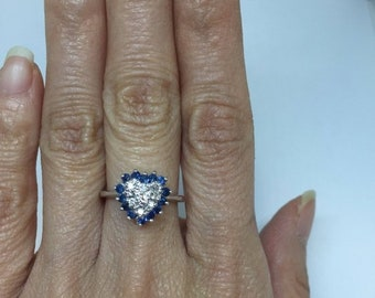 Preowned Half Carat Diamond and Blue Sapphire Heart Shaped Ring - 14K White Gold, 0.50 carat