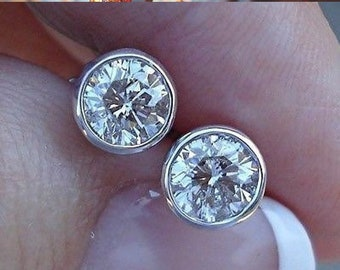 0.50 Half Carat Bezel Set Diamond Stud Solitaire Screwback Earrings - 14K Yellow Rose White Gold Wardrobe Staple