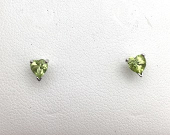 Peridot Stud Earrings - 4mm Heart Shaped Green 0.50 Carat Stones, August Birthstone Green White Gold 14K