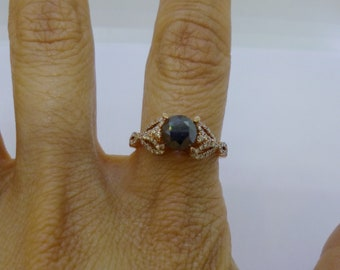 1.38 Carat Black Diamond and White Diamond Rose Gold Ring - 14K by Luxinelle