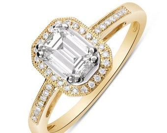 14K Emerald Cut Diamond Halo Engagement Ring (Yellow Gold) 0.73TCW Resizable
