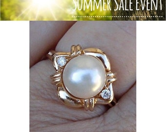 Big 8mm Pearl and Diamond Ring 14K Yellow Gold