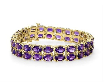 32.61 Carat Amethyst Stone Bracelet Double Row 14K Yellow Gold February Birthstone by Luxinelle