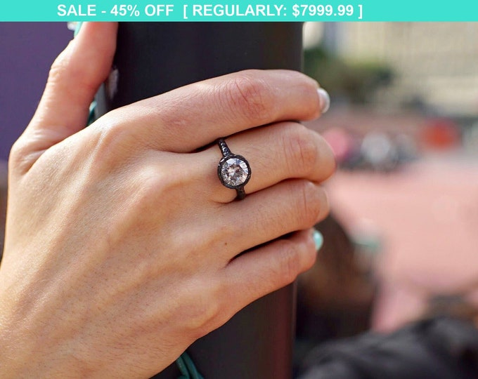 Featured listing image: 18K Black and Yellow Gold Alternative Engagement Ring with 2.25 Carat Gray Salt and Pepper Diamond - Handmade