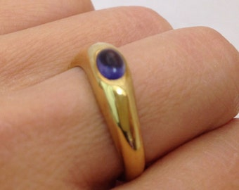 Polished Tanzanite Yellow Gold 18K Ring in Size 6.25