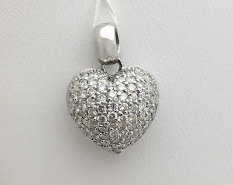 1.28 Carat Round Diamond Heart Pendant - 14k White Gold Pave Diamond Necklace by Luxinelle