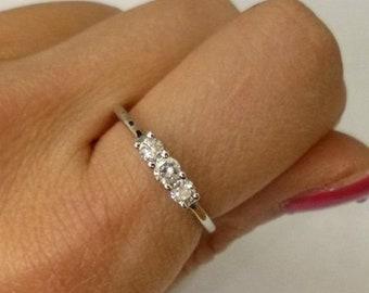 3 Diamond Ring 14k White Gold Diamond Band - Past Present Future Wedding Ring