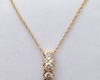 3 Diamond Drop Pendant Necklace - Past Present Future 14K Yellow Gold 0.83 Carat SI Clarity